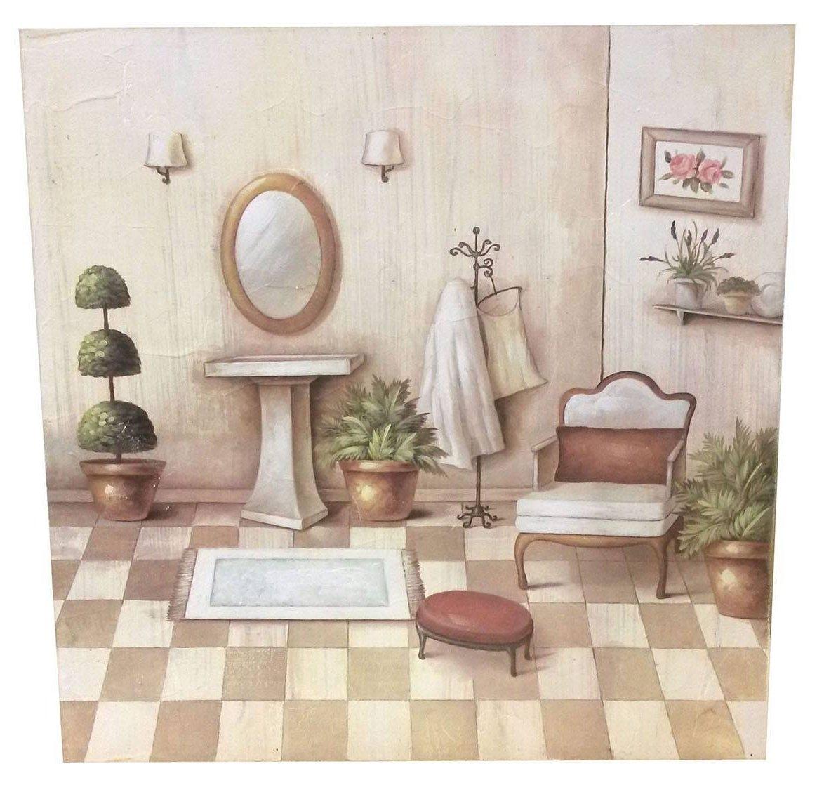 Quadro aline bagno shabby 60x60cm quadri for Arredamento stile country provenzale