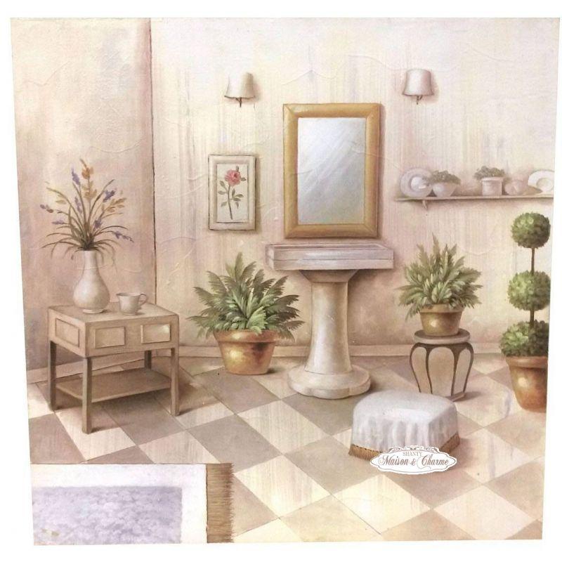 Quadro celine bagno shabby 60x60cm quadri - Quadri da appendere in bagno ...