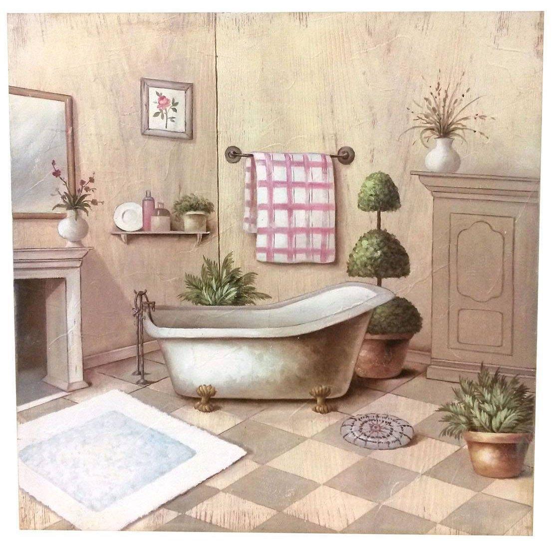 Quadro julie bagno shabby quadri - Mettere piastrelle bagno ...