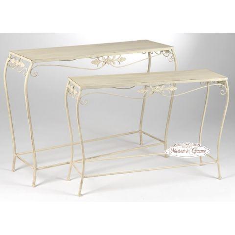 Consolle auxelle shabby mobili in ferro - Mobili bagno in ferro battuto bianco ...