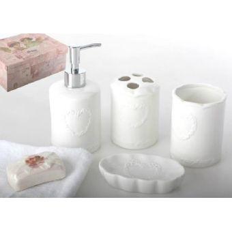 Set accessori bagno roma 3 provenzale accessori bagno shabby chic - Accessori bagno provenzale ...
