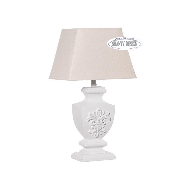 Lampada tavolo fregio bianco shabby chic lampadari lampade for Lampade shabby chic online