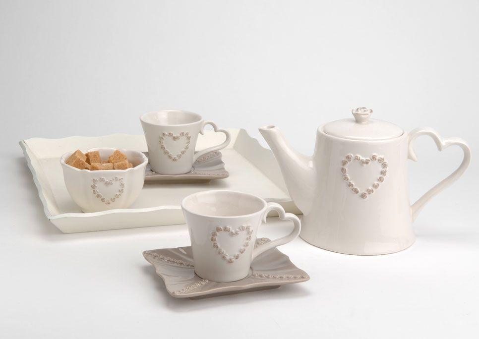 Divani Provenzali Roma : Servizio da the cuore shabby chic bicchieri mug tazze