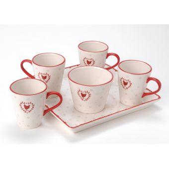 Set 4 Tazze Caffè in ceramica provenzale con Zuccheriera e Vassoio in stile Shabby Chic_modello CUSINE