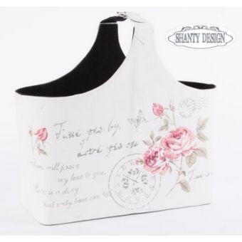 Porta Riviste in tessuto provenzale con decorazioni floreali stile Shabby Chic_modello ROMANTIC GARDEN