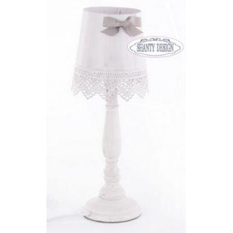 lampada da tavolo e comodino con gambo in legno decape provenzale e coprilume in metallo e merletti shabby DENISE 5