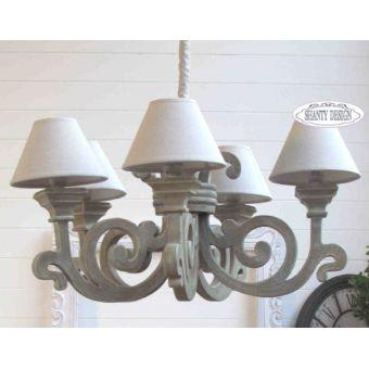 lampadario CANVAS in legno decapato grigio antico 5 luci con coprilume tessuto shabby chic online