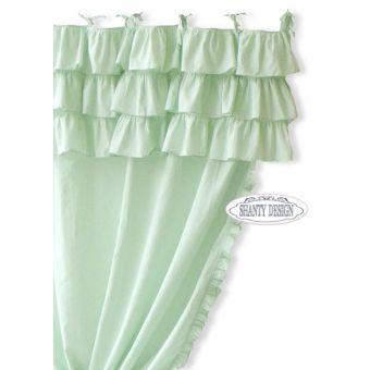 tenda con rouches a destra e mantovana a balze shabby chic  verde menta in tessuto provenzale online