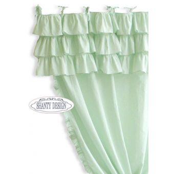 tenda 150x290 rouches a SINISTRA con mantovana a balze shabby chic colore verde menta in tessuto cotone provenzale online