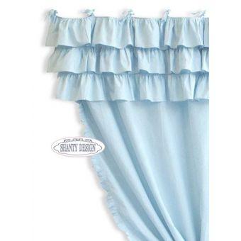 tenda celeste pastello shabby chic con mantovana a balze provenzali online VIENNA 5