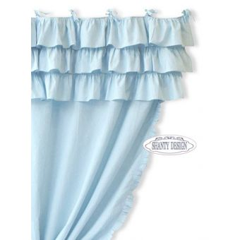 tenda celeste pastello shabby chic con mantovana a balze provenzali online VIENNA