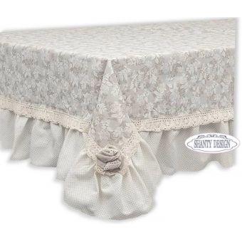 tovaglia 130x180 in tessuto provenzale con rose ad uncinetto stile shabby chic online