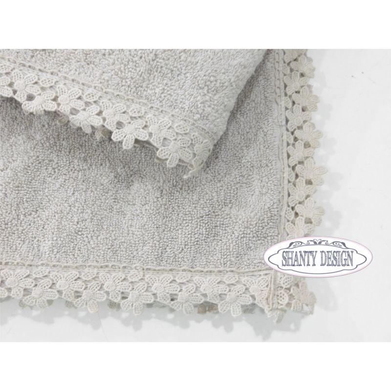 Coppia asciugamani bagno lilla' 2 shabby chic biancheria bagno ...