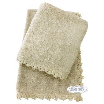 asciugamani bagno ecru provenzale online in tessuto shabby chic con bordo ad uncinetto