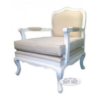 poltrona CLARISSA 1 n legno decapato bianco shabby chic online con imbottitura in tessuto lino provenzale colore ecru online