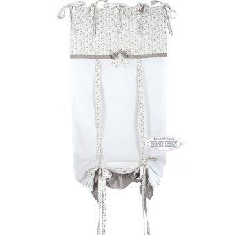tenda FIOCCO con mantovana in cotone shabby chic online con rosa e merletto in tessuto provenzale