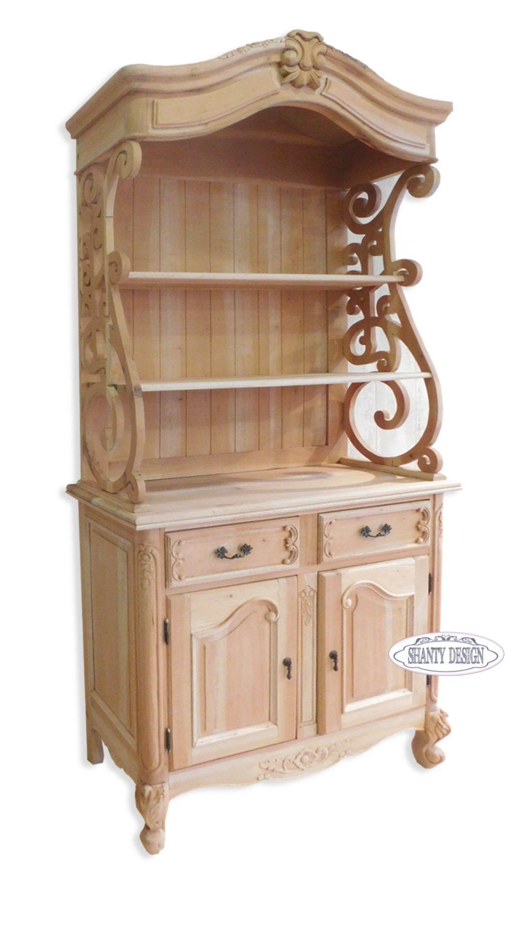 CREDENZA & CRISTALLIERA PROVENZALE : in legno massello SHABBY COUNTRY