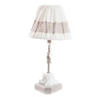 lampada abatjour per comodino e tavolo romantic 3 in ferro battuto decapato bianco stile shabby chic online