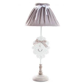 lampada abatjour per comodino e tavolo romantic 4 in ferro battuto decapato bianco stile country e provenzale