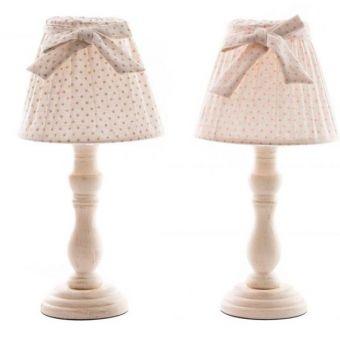 lampada abatjour per comodino e tavolo romantic 7 in legno decapato bianco stile country e provenzale