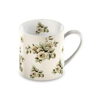 tazza mug per colazione in ceramica bianca shabby chic online FLEURS 1