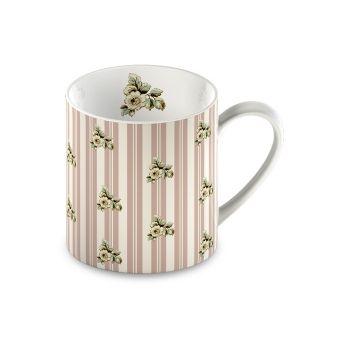 tazza in ceramica rosa cipria shabby chic con strisce bianche e decori floreali provenzali online