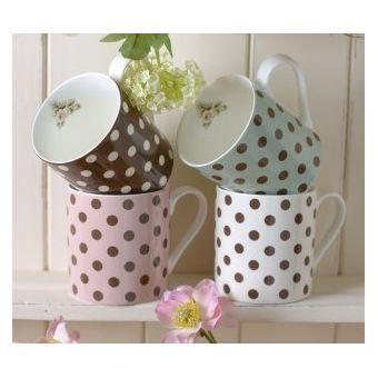 set 4 tazze in ceramica inglese bianca shabby chic con pois e colori assortiti online