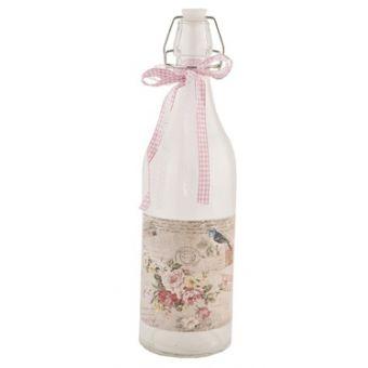 bottiglia in vetro acqua vino shabby chic  con decori in stile provenzali e country