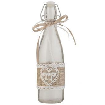 bottiglia in vetro vino acqua stile country con merletto in tessuto provenzale in yuta e decori shabby chic online