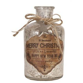 bottiglia ampolla in vetro anticato shabby chic con stella natale stile provenzale online