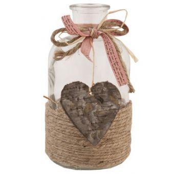 bottiglia per profumo e bagno shabby chic con nastrino rosa cipria e  cuore in legno decapato online