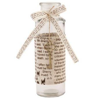 bottiglia profumo in vetro per bagno shabby chic con chiave antica in ottone