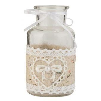 ampolla con cuore stile country in vetro per profumi e bagno shabby chic PARIS 5 con merletto ad uncinetto online