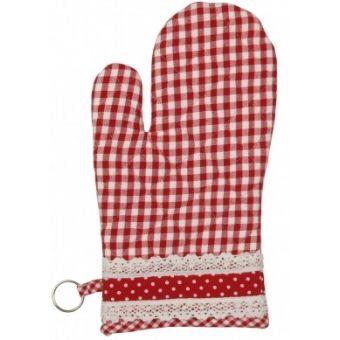 guanto da cucina e forno in stile shabby chic online a quadri rossi e bianchi country CUISINE 2
