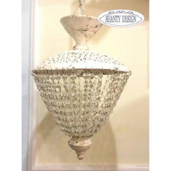 lampadario a 1 luce in ferro battuto metallo bianco anticato decapè modello ANTIC stile shabby chic online