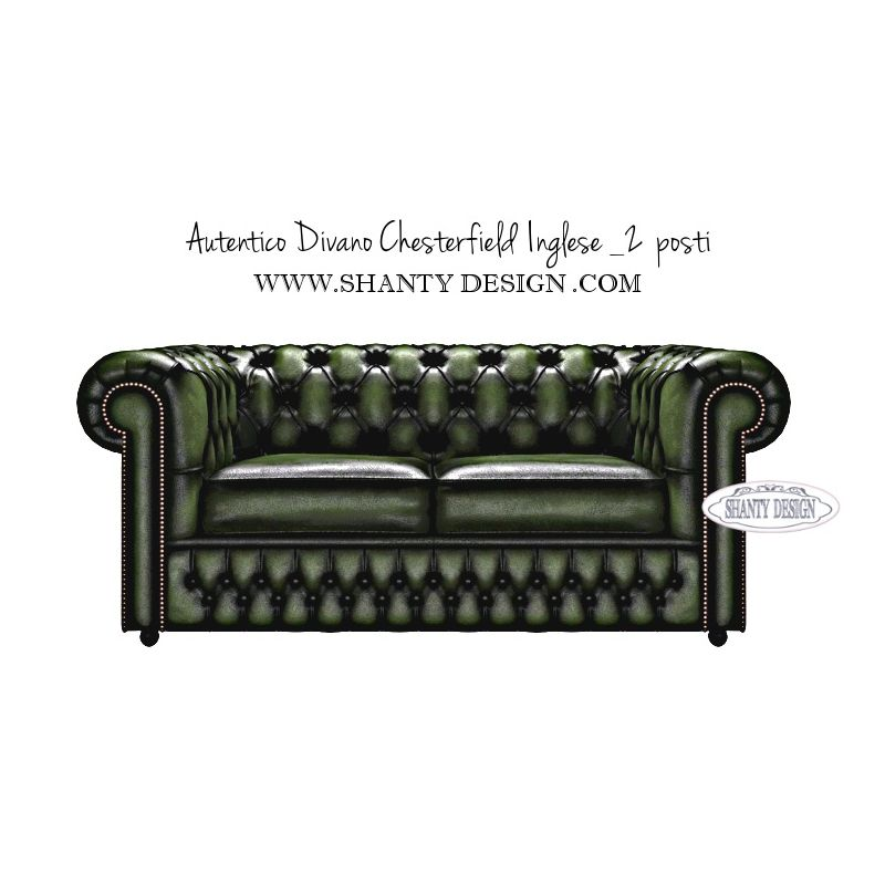 Divano chesterfield in pelle vintage roma verde divani e for Divano chesterfield 2 posti
