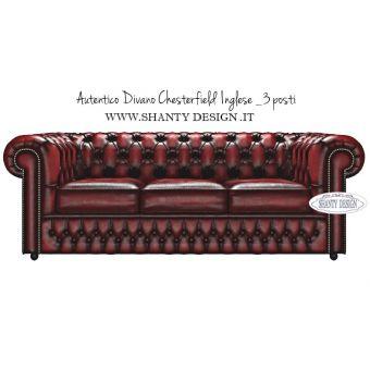 Divano Chesterfield 3 posti in vera pelle autentico inglese vintage modello Roma rosso Antico online