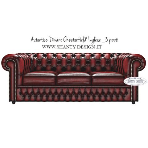 Divano chesterfield in pelle vintage roma rosso divani e - Divano in pelle rosso ...