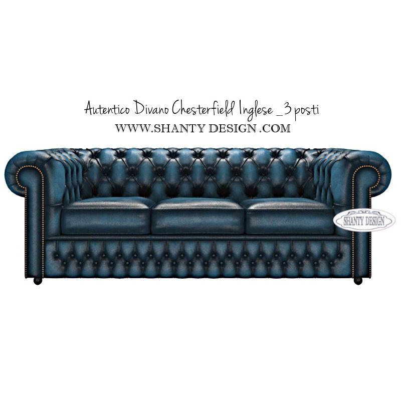 Divano chesterfield in pelle vintage roma blu divani e poltrone chesterfield inglesi shabby chic - Divano in inglese ...
