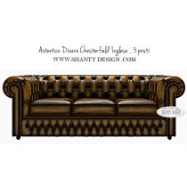 Divano Chesterfield in pelle Vintage ROMA GOLD ORO
