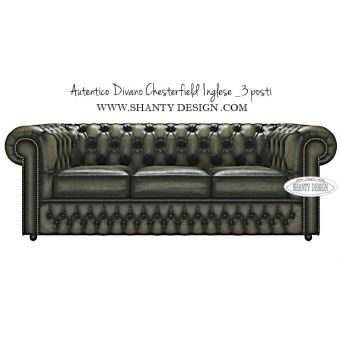 Divano Chesterfield 3 posti in pelle autentico inglese shabby chic e country modello Roma Verde OLIVA on