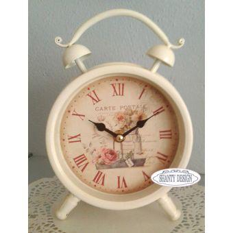 sveglia orologio in metallo decape stile shabby chic e provenzale online ROMANTIC 2