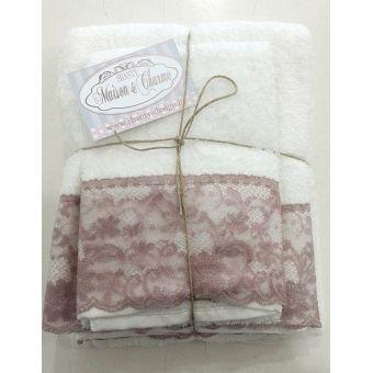 coppia asciugamani bianca bagno shabby chic in spugna e balza in pizzo rosa cipria e merletto modello ROMA 2 online