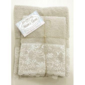 coppia asciugamani grigio polvere per bagno shabby chic in spugna e balza in pizzo e merletto modello ROMA 1 online