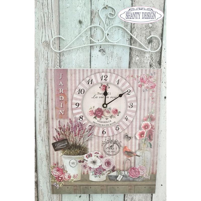 orologio da muro roses 2 country orologi shabby chic - Parete Soggiorno Stile Provenzale 2