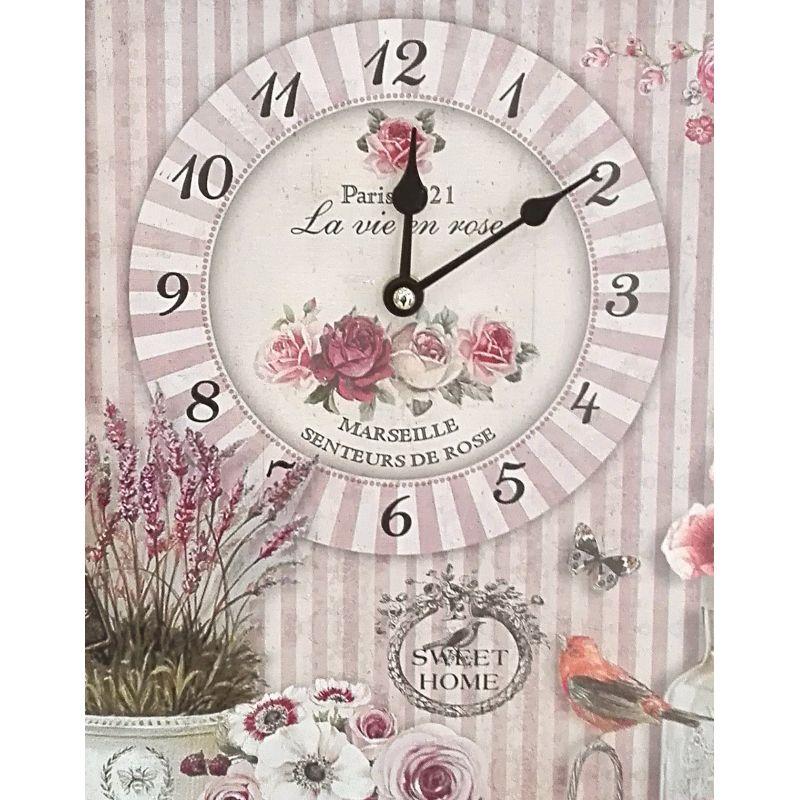 orologio da parete con fiori stile shabby chic roses 2 in stile country per cucina shabby