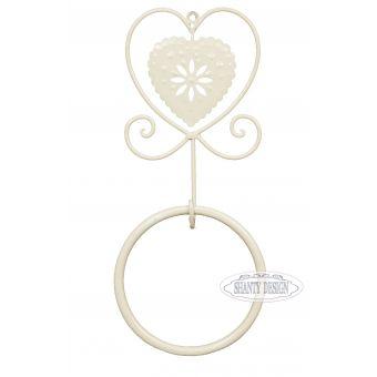 porta asciugamani anello in ferro battuto avorio decape CUORE shabby chic stile provenzale online