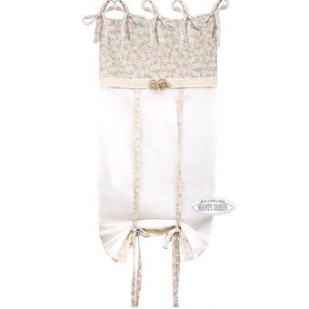 tenda ROSES con mantovana in cotone shabby chic online con rosa e merletto in tessuto provenzale