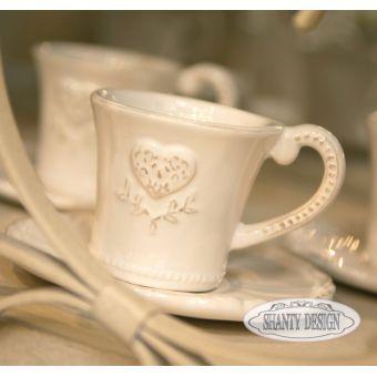 tazzine da caffè in ceramica bianca provenzale con piattino shabby chic e Cuori online