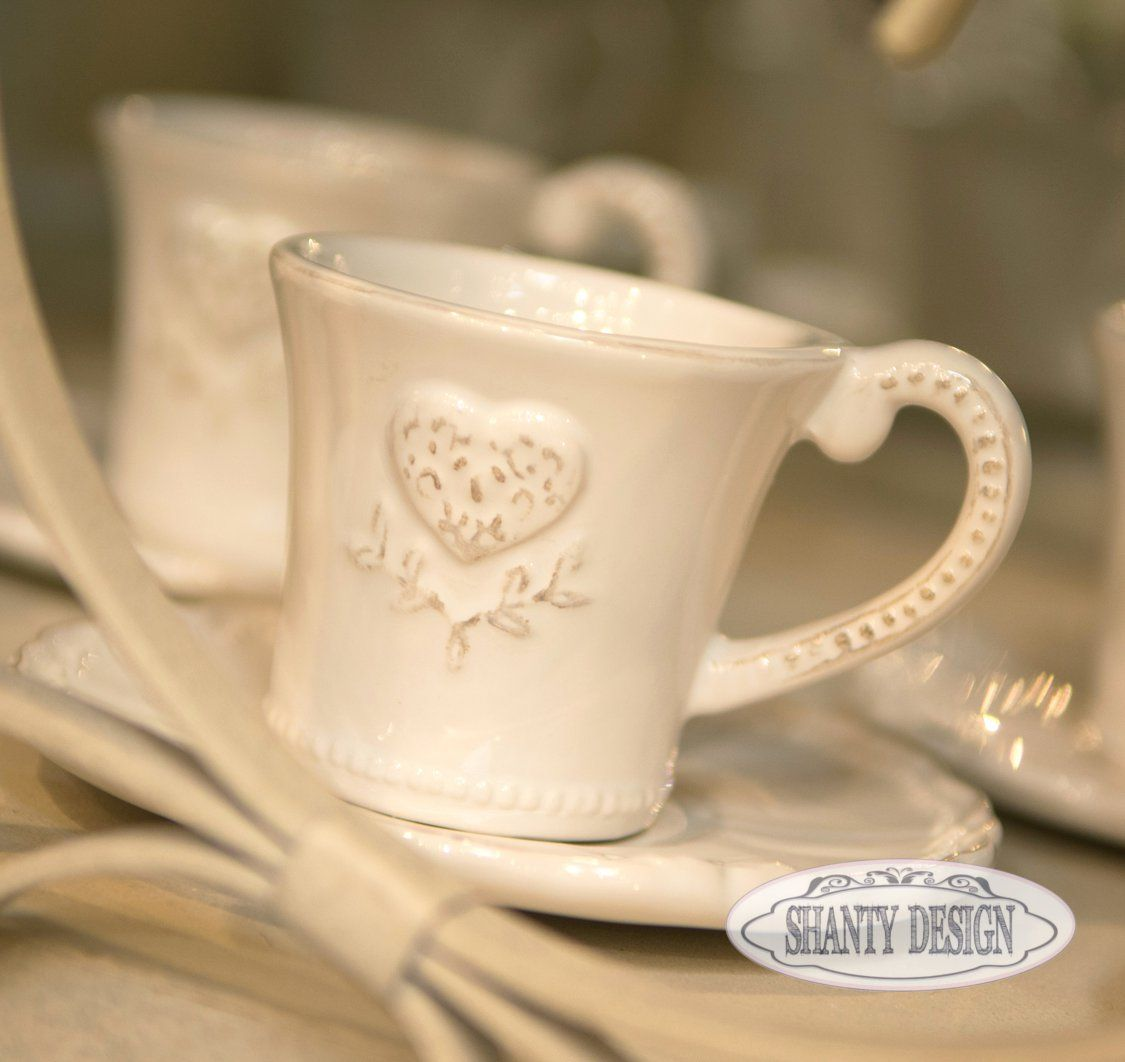 Set Caffe\' CUORE Shabby Chic Bicchieri - Mug - Tazze